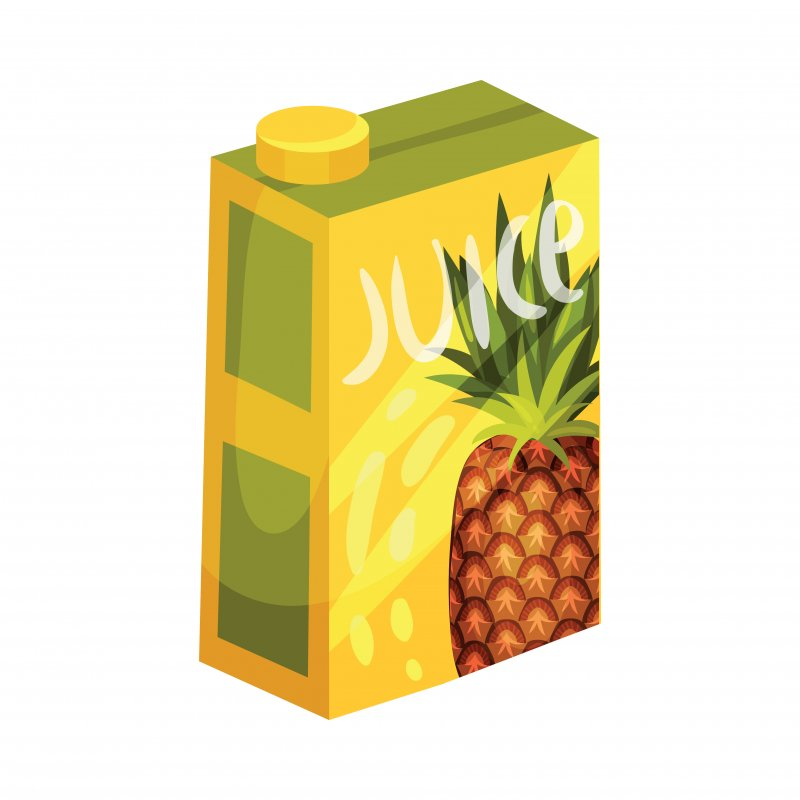 Illustration of juice box with a pineapple on it